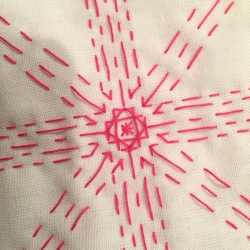 刺し子の布巾菊の花