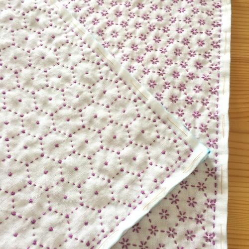 刺し子の布巾花亀甲