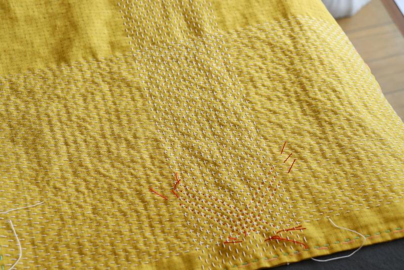 SASHIKONO-刺し子花布巾-米刺し