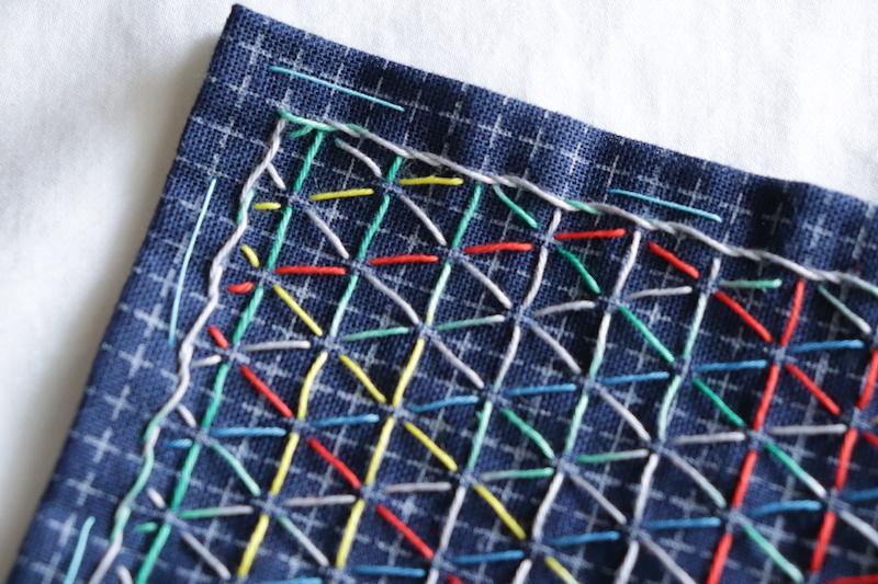 刺し子の布巾ふち飾り